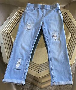 Justice Girls 12 Glitter Destructed  Medium Wash Pull On Crop Jeans Stretch