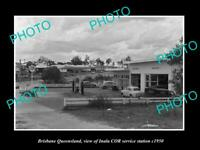 OLD POSTCARD SIZE PHOTO OF BRISBANE QUEENSLAND THE INALA COR OIL STATION c1950