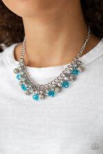 Paparazzi jewelry silver beads, glittery blue beads Necklace w/ Earrings