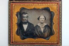 Antigüedad sexta Placa Daguerreotype de pareja en con relieve Estuche de cuero