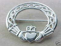 STERLING SILVER CLADDAGH IRISH CELTIC BROOCH KILT / SCARF PIN  BLOWOUT PRICE