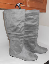 ladies NEW GRAY  flat slouch  ROUND TOE sexy Knee boots   Size.  9