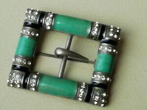 Vintage jewellery diamante and green art deco buckle brooch
