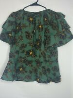 Who What Wear Womens Dark Green Floral Blouse Peplum Top Ruffle Arms size M