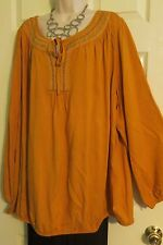 NEW Embroidered Beaded Peasant Boho Top Lane Bryant Plus 26/28 (3X/4X) Marigold