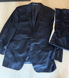 SAMUELSOHN Navy Blue Striped Wool Suit Gable 2-Btn Super 130s $995 Retail