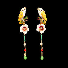 Earrings Studs Gold Owl On Branch Flowery Pampilles Enamel Yellow Pink Green L6