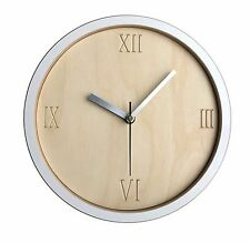 Wall clock - handmade modern contemporary white, wood, cut out roman numerals.
