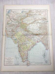 1899 Antique Map of India Tibet Kashmir Turkestan Old 19th Century Original