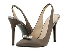 Nib Women Coach Heather Slate Satin Gray Heals Slingback Wedding Shoe 9 5 1