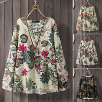 UK Women Long Sleeve Retro Floral Printed Top Blouse Casual Loose Shirt Pullover