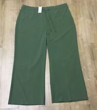 New Ladies Khaki Green Casual / Office Loose Trousers Pants Plus Size UK 28