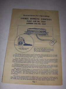 INSTRUCTIONS FOR OPERATING LIONEL REMOTE CONTROL DUMP CAR AND LUMBER CAR, 1950!