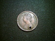 1862 India 1/2 Pice Moneda británica Victoria. buen tono