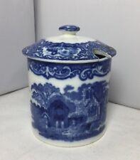 Antique Blue & White George Jones Abbey Pattern Jam Preserve Pot