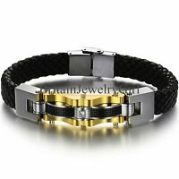 "8.6"" Fashion Men's Black Leather Braided Bracelet Stainless Steel Cuff Bangle"