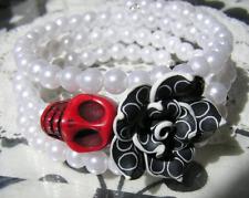 Day of the Dead Bracelet Sugar Skull Wrap Around Black & white Flower pearls NEW