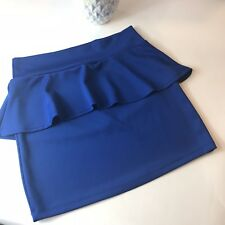 Urvana Womens Peplum Electric Blue Stretch Mini Skirt Cotton Skirt Sz Large