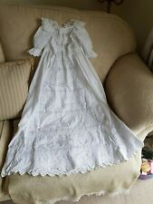 ANTIQUE CHRISTENING GOWN EXCEPTIONAL HAND EMBROIDERY ~DOLL
