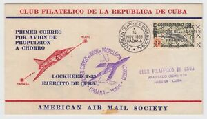 AMERICAN AIR MAIL SOCIETY 1955, FIRST PROPULSION PLANCE FLIGHT TO MIAMI