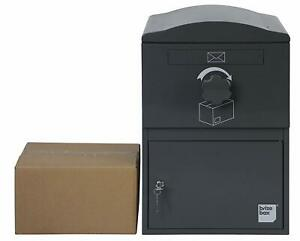 BrizeBox Compact Standard Standalone Package Mailbox Architectural Grey Postbox