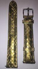 Michele 16MM Python Leather Watch Strap Green/yellow