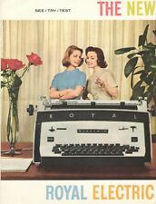 VINTAGE 1960 ROYAL ELECTRIC TYPEWRITER BROCHURE! CHOOSE YOUR COLOR & FONT! 4PAGE