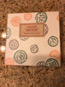 Vintage Japanese Coasters UKIYOE Genre Pictures 8 Each Unique Designs 1960s