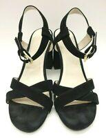 Cole Haan Black Suede Leather Block Heel Buckle Sandals Shoes Women's 9.5 B