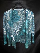 Nic + Zoe PL Blue White Green Cardigan Sweater Open Draped Front Linen Petite L