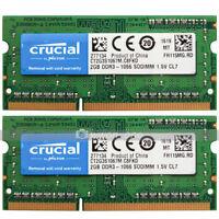 Crucial 4GB 2x2GB PC3-8500 DDR3 1066MHz 204Pin SODIMM Laptop Memory RAM 1.5V CL7