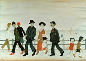 Framed LS Lowry Print – On The Promenade (Picture Painting Poster Artwork Art)