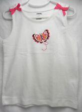 NWT - GYMBOREE Girls White Tank-Top w/ Pink Butterfly & Pink Ribbon S (7) 70530