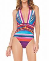 Gottex Women's Swimwear Pink Size 14 Stripe Halter Plunge One-Piece $128 #595
