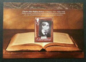 [SJ] Gibraltar Charles John Huffam Dickens 2012 Famous People Book (ms) MNH