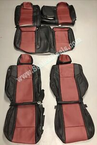 2015-2019 Dodge Challenger Custom Katzkin Leather Seat Covers Black & Medium Red
