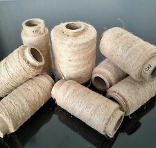 Lot de 8 Bobines de Fil de Lin Ancien Brut French Old Linen Thread Batch