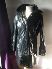 Dennis Basso Raincoat Patent Pvc Black Shiny S Leopard Lining Hooded