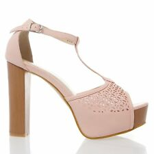 New Peep Toe Ankle T Strap Chunky Heel Platform Pump Sandal Perforated Cut-Out