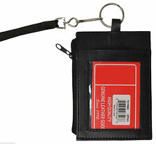 Black Leather ID Badge Holder Neck Strap Money Card Lanyard Zip Wallet