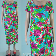 Vtg 80s Bright Floral Hawaiian pencil wiggle faux wrap Tropical sun dress Sz M