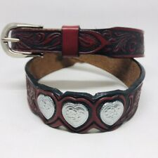 Vtg Hand Tooled Red Leather Belt Thin 26-30 Inch Small Silver Tone Buckle Hearts