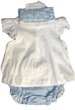 Starting Out 2 Piece Set Top Diaper Cover Blue White W/Headband Nwt