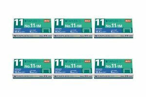 Max No. 11-1M Staples For Vaimo Staplers, 6 Packs