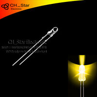 100pcs 3mm led water clear Yellow Light Emitting Diodes round top ultra bright