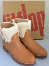 Fitflop Mimie Ankle Boots Hazelnut Tan Leather Shearling Ladies Box Size 5 New