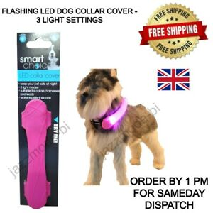 LED COLLAR COVER DOG LEAD FLASHING LIGHTS - LEADS - HARNESSES & COLLARS - PINK