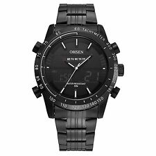 OHSEN Black Stainless Steel Analog Digital Dual Time Mens Quartz Watch AD1701B