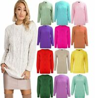 Ladies Long Sleeve Chunky Cable Knit Plain Jumper Womens Knitted Sweater Top