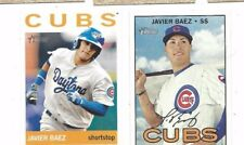 2013 #160 & 2016 #723 Topps Heritage baseball card lot Javier Baez, Chicago Cubs